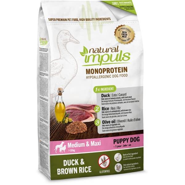 Natural Impuls Monoprotein Puppy Welpefutter Ente brauner Reis